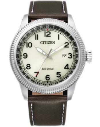 citizen BM7480-81E orologio uomo collezione ore felici 2020 solo tempo quadrante beige cinturino pelle marrone