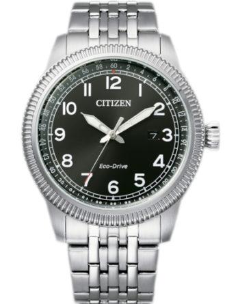 citizen BM7480-81E orologio uomo collezione ore felici 2020 solo tempo quadrante nero bracciale acciaio