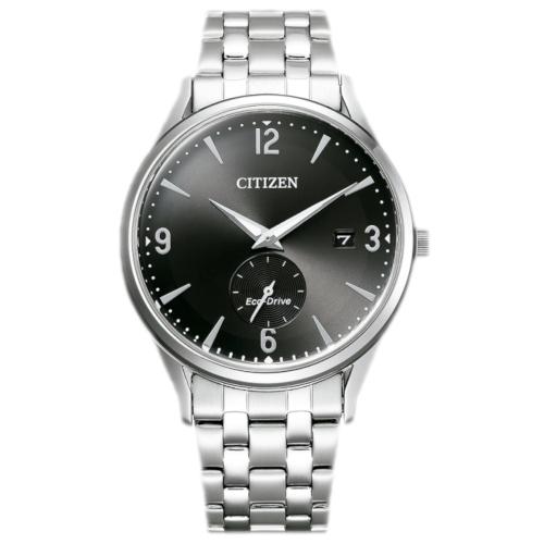 citizen BV1111-75E orologio uomo collezione ore felici 2020 solo tempo quadrante nero piccoli secondi a ore 6 bracciale acciaio