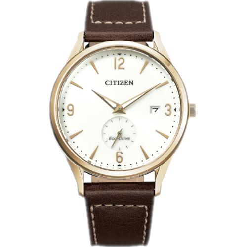citizen BV1116-12A orologio uomo collezione ore felici 2020 solo tempo quadrante silver cassa pvd gold piccoli secondi a ore 6 cinturino pelle