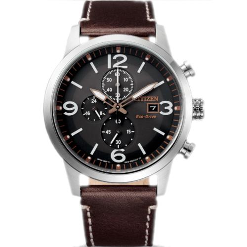 citizen CA0740-14H orologio uomo collezione ore felici 2020 cronografo quadrante nero cinturino pelle marrone