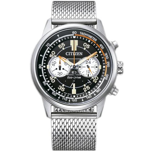 citizen CA4460-19E orologio uomo collezione ore felici 2020 cronografo quadrante nero bracciale maglia milano acciaio