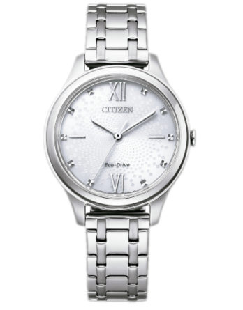 citizen EM0500-73A orologio donna collezione ore felici 2020 solo tempo quadrante silver con cristalli bracciale acciaio
