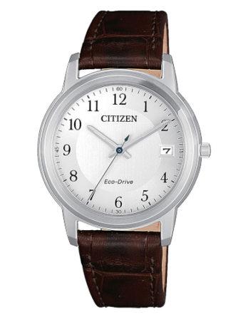 citizen FE6011-14A orologio donna solo tempo quadrante silver cinturino pelle marrone