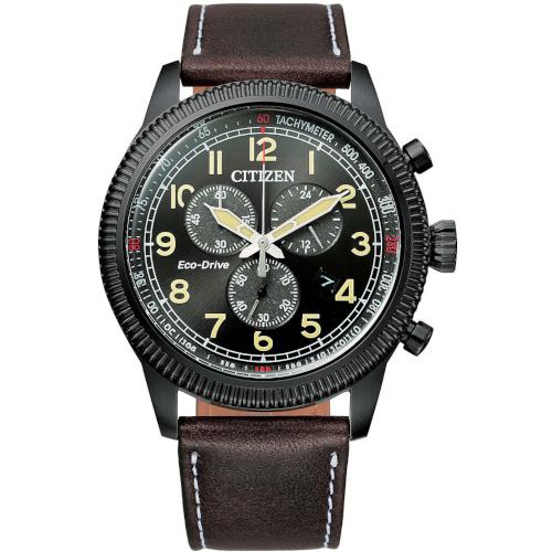 citizen AT2465-18E orologio uomo collezione ore felici 2020 cronografo quadrante nero cassa PVD nero cinturino pelle marrone
