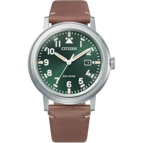 citizen AW1620-13X orologio uomo collezione ore felici 2020 solo tempo quadrante verde cinturino pelle marrone