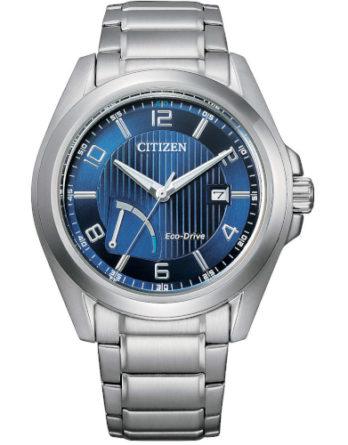 citizen AW7050-84L orologio uomo collezione ore felici 2020 quadrante blu con indicazione riserva di carica a ore 7 bracciale acciaio