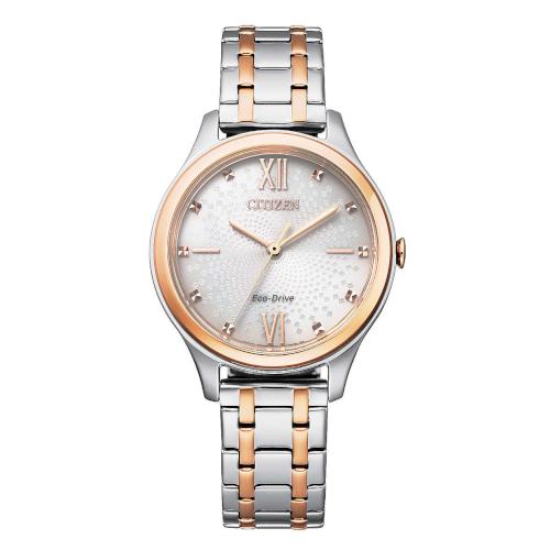 citizen EM0506-77A orologio donna collezione ore felici 2020 solo tempo quadrante silver con cristalli bracciale acciaio e cassa con particolari PVD oro rosso