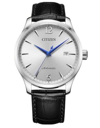 citizen NJ0110-18A orologio uomo automatico quadrante silver cinturino pelle nero stampa coccodrillo