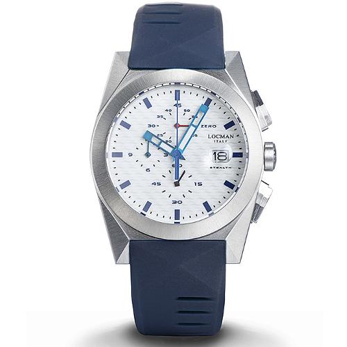 Locman new stealth cronografo 0812a08s-00whblsb quadrante bianco cinturino blu