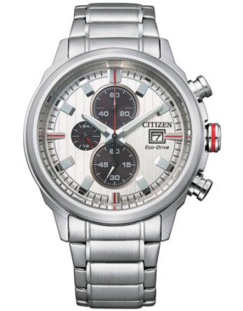 orologio Citizen Eco Drive crono collezione OF Sport CA0738-83A qudrante bianco bracciale acciaio