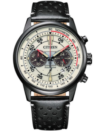 orologio citizen crono racing CA4465-15X quadrante chiaro cinturino pelle nero b