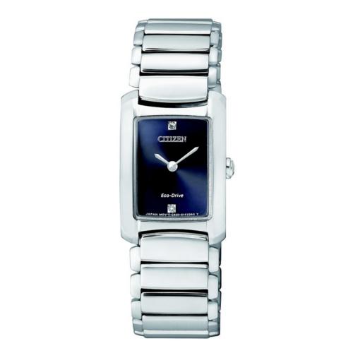 orologio citizen donna EG2970-53L cassa rettangolare quadrante blu bracciale acciaio