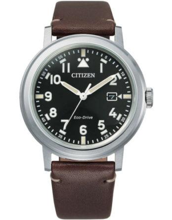 orologio citizen uomo solo tempo collezione OF Military AW1620-21E quadrante nero cinturino pelle marrone