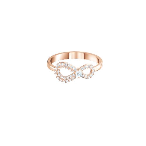 Anello - Swarovski Infinity 5535412 Bianco Oro Rosa Misura 58-3