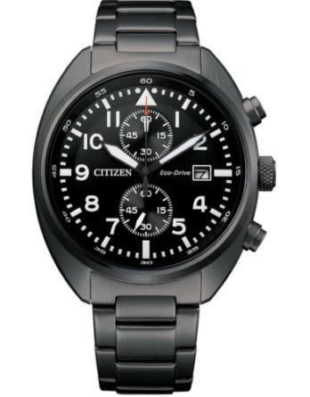 citizen Eco Drive Cronografo CA7047-86E cassa e bracciale PVD nero quadrante nero