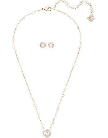 Collana -Swarovski Donna Angelic Square 5351306 Bianco Oro Rosa 5