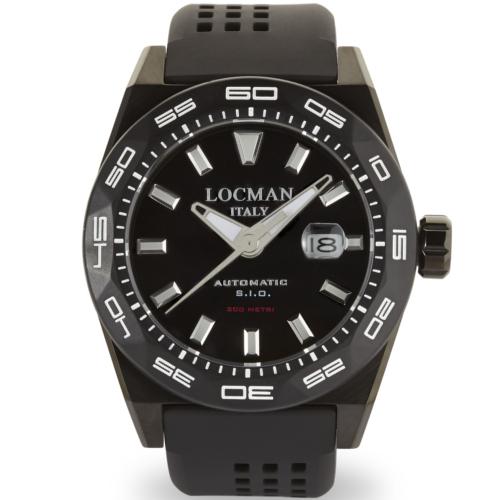 Locman Stealth 300 mt automatico cassa PVD nero quadrante nero cinturino silicone nero 0215V4-KKCKNKS2K a