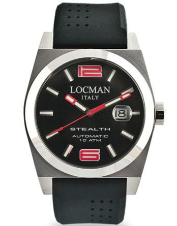 Locman Stealth Automatico cassa acciaio 43 mm quadrante nero cinturino nero silicone 020500BKNRD0GOK a