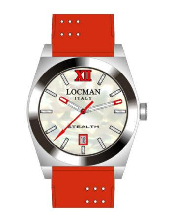 Locman Stealth Medium quadrante madreperla cinturino silicone rosso 020300MWFRD0SIR
