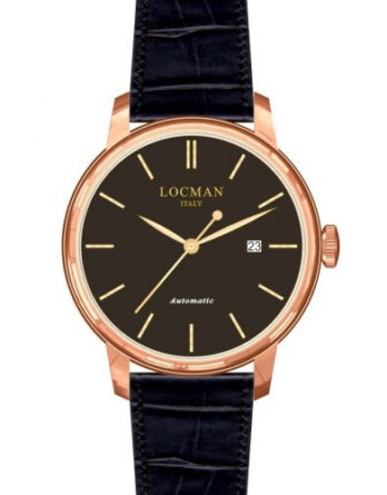 locman 1960 automatico quadrane nero cassa pvd rose gold cinturino pelle nero 0255R01R-RRBKRGPK