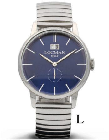 locman 1960 big date quadrante blu bracciale acciaio elasticizzato misura L 0252V02-00BLNKBEL