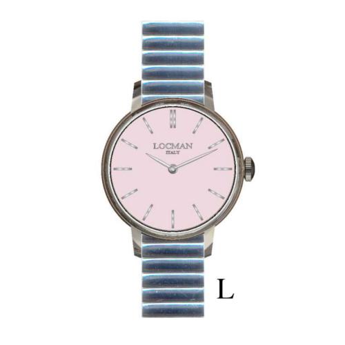 locman 1960 lady quadrante rosa bracciale acciaio elasticizzato 0253A11A-00PKNKBEL a