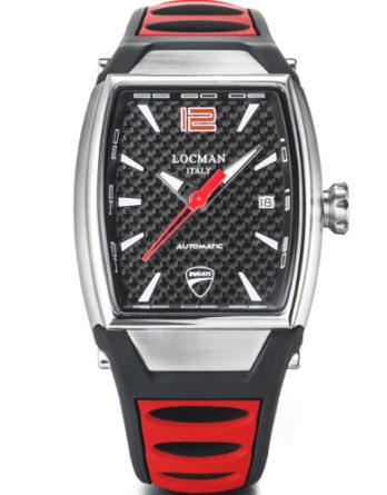 locman Ducati cassa tonneau quadrante carbon cinturino silicone rosso e nero D551A09S-00CBRDSR a