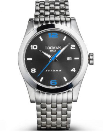 locman Island quadrante nero particolari blu bracciale acciaio 0613A20S-00ANSKB0 a