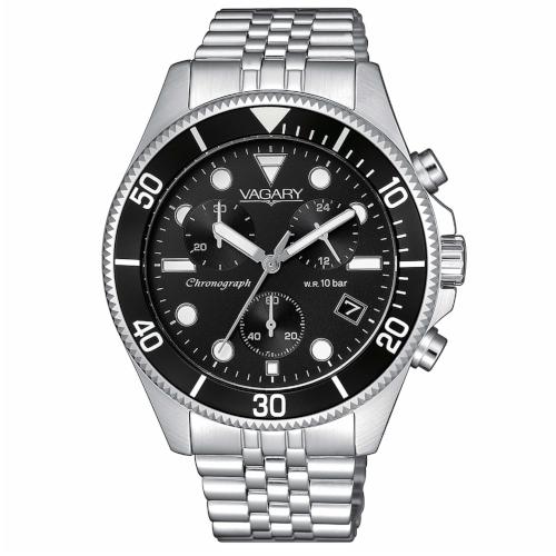 Orologio - Vagary Aqua39 Crono VS1-019-55 Acciaio Nero