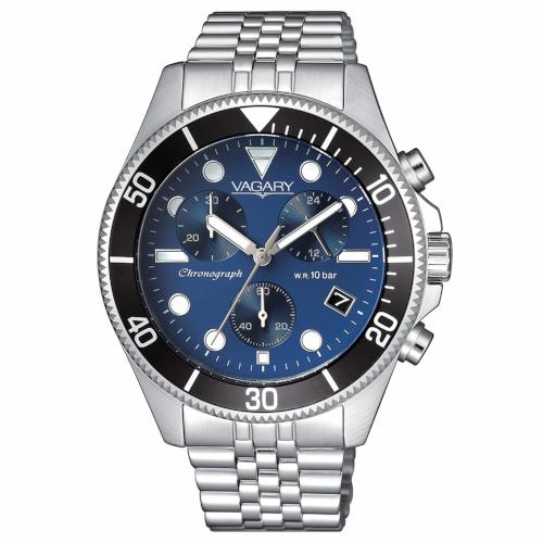 Orologio - Vagary by Citizen Aqua39 Crono VS1-019-71 Blu Nero Acciaio