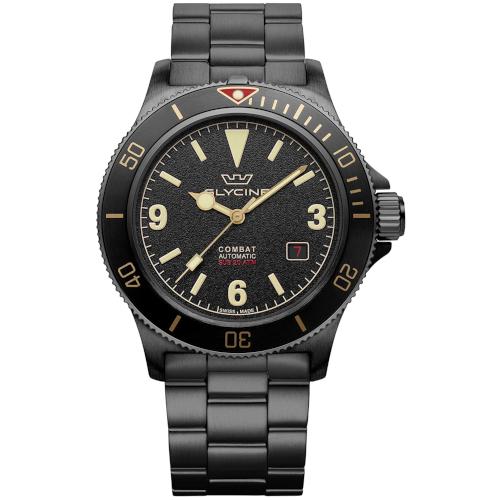 glycine combat sub Vintage GL0290 automatico sub 200 mt cassa e bracciale PVD nero quadrante nero
