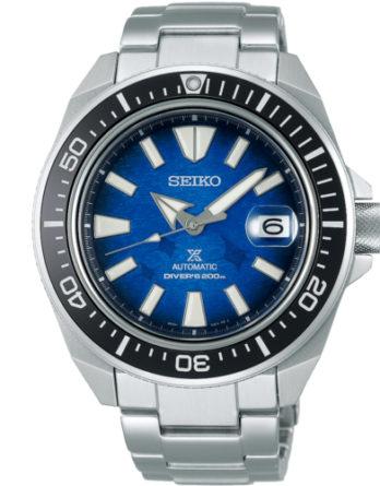 seiko SRPE33K1 Samurai Manta Save the Ocean quadrante blu braccialea acciaio