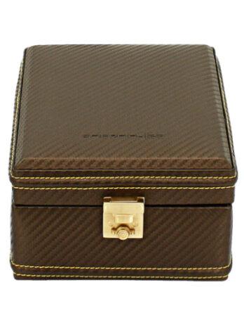 friedrich 32049-8 scatola porta orologi 6 posti carbon marrone coperchio chiuso