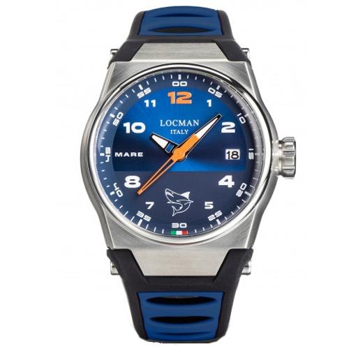 Locman mare cronografo 0557A02S-00BLORSB quadrante blu cinturino blu e nero silicone b
