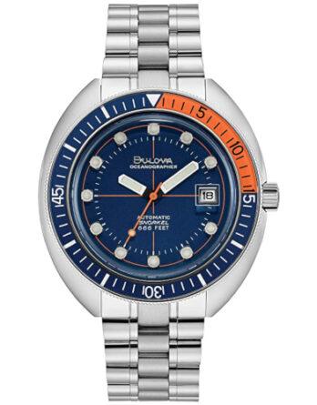 bulova oceanographer 96B321 quadrante blu ghiera blu e arancione con bracciale acciaio